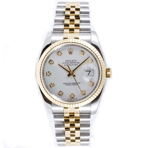 Rolex Mens Gold Watch With Diamonds