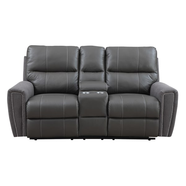 Emerald Grey Leather And Microfiber Power Dual Reclining Loveseat With Console Free Shipping