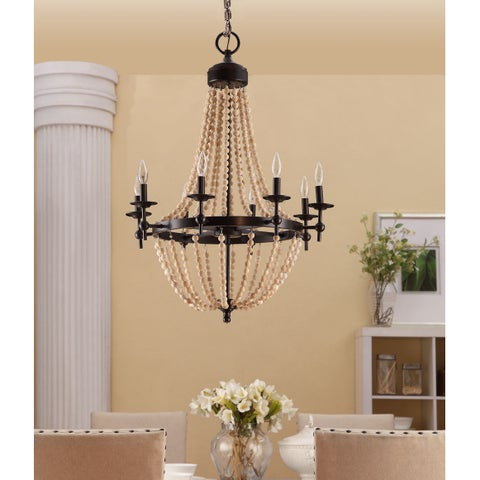 Sonoma Natural Beaded Brown 8-light Chandelier