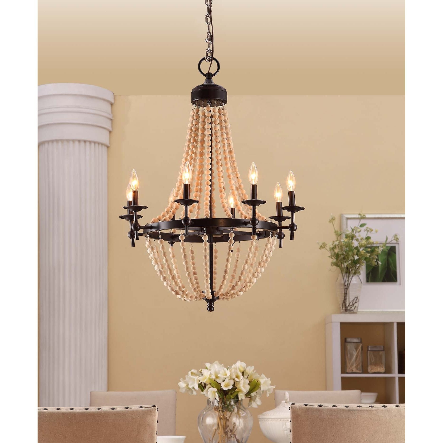 Fancy Farmhouse Chandelier Natural Beaded Black 8 light Foyer