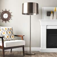 Nickel Metal Drum Shade 2-light Floor Lamp