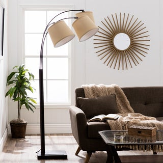 I Love Living Avery Black Metal 3-light Arc Floor Lamp