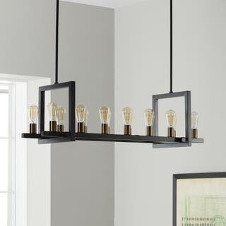 I Love Living Griffin Black Metal Rectangular 14 Light Chandelier
