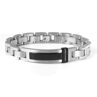 Stainless Steel Nen's Diamond Accent ID Style Bracelet