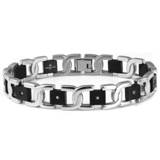Two-tone Stainless Steel Men's Diamond Accent Bracelet