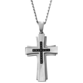 Stainless Steel 1/6ct TDW Black Diamond Cross Pendant Necklace