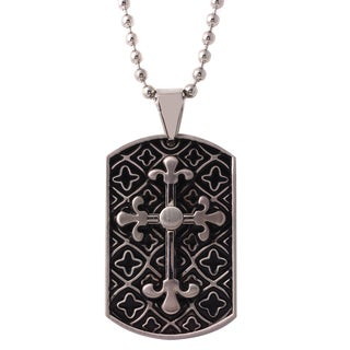 Stainless Steel Two-tone Cross Dog Tag Pendant Necklace