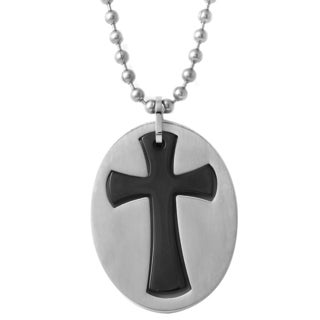 Stainless Steel Two-tone Oval Cross Pendant Necklace
