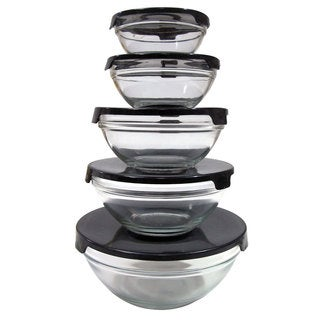10-piece Nesting Glass Bowl Set with Black Lids