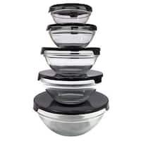 10-piece Nesting Glass Bowl Set with Black Lids