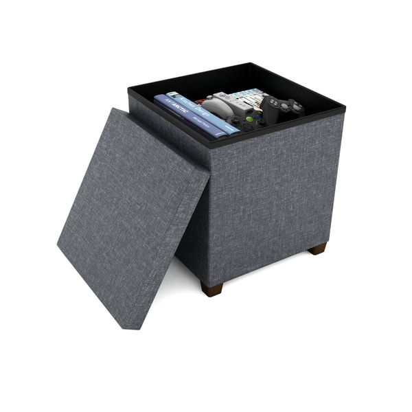 Remarkable Shop Urb Space Square 17 Inch Storage Ottoman With Wooden Creativecarmelina Interior Chair Design Creativecarmelinacom