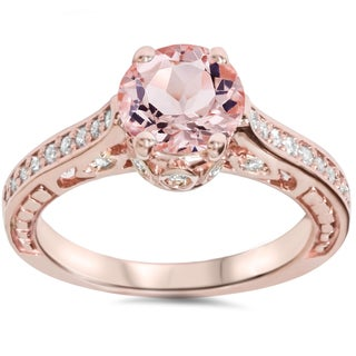 Bliss 14k Rose Gold 1/4ct TDW Diamond and Morganite Vintage-style Engagement Ring (I-J, I2-I3)