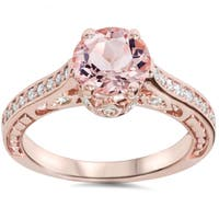 Bliss 14k Rose Gold 1/4 ct. TDW Diamond and Peach Morganite Engagement Ring (I-J, I2-I3)