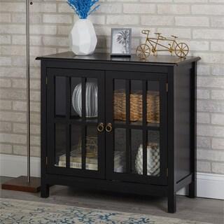 Simple Living  Portland Glass Door Cabinet (Black)