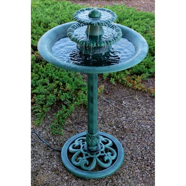 Dark Verdigris Green Ornate Pedestal Light: Shop Alpine Corporation Green 3-Tiered Fountain And Bird
