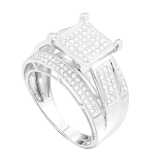 10k White Gold 1/2ct TDW Pave Diamond Engagement Ring