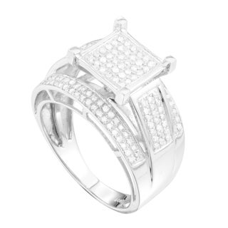 10k White Gold 1/2ct TDW Pave Diamond Engagement Ring (G-H, I1-I2)