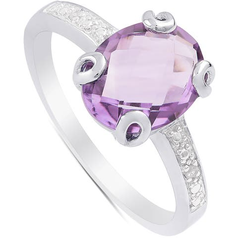 Dolce Giavonna Sterling Silver Amethyst and Diamond Accent Solitaire Ring