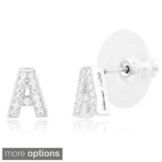 Sterling Silverplated Cubic Zirconia Initial Stud Earrings