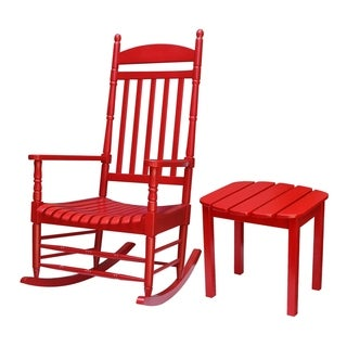 Red 2-piece Porch Rocker and Table Set