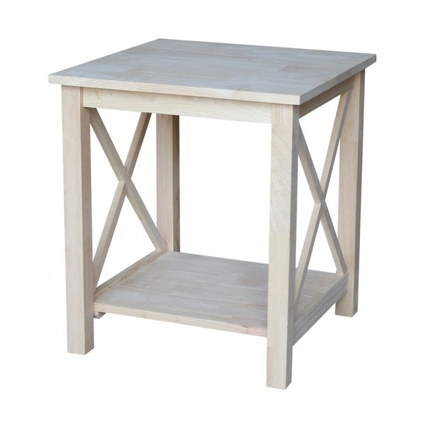 Shop Unfinished Solid Parawood Hampton End Table Free Shipping