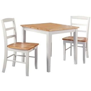 30-inch Square Natural/ White 3-piece Dining Set