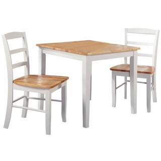 30 Inch Square Natural/ White 3 Piece Dining Set