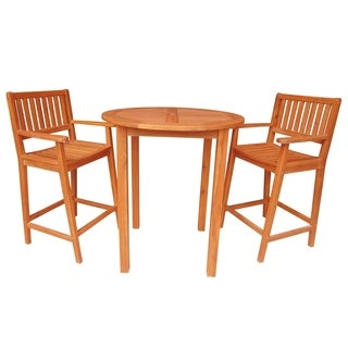 Hardwood Bar-height Round Table with Two Stool