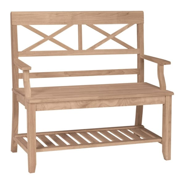 Unfinished Solid Parawood Double X-back Bench