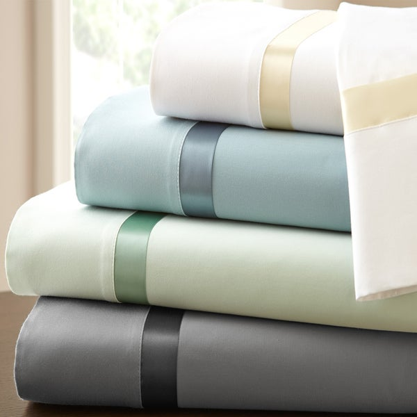 Amraupur Overseas 600 Thread Count Cotton Sheet Set with Satin Binding