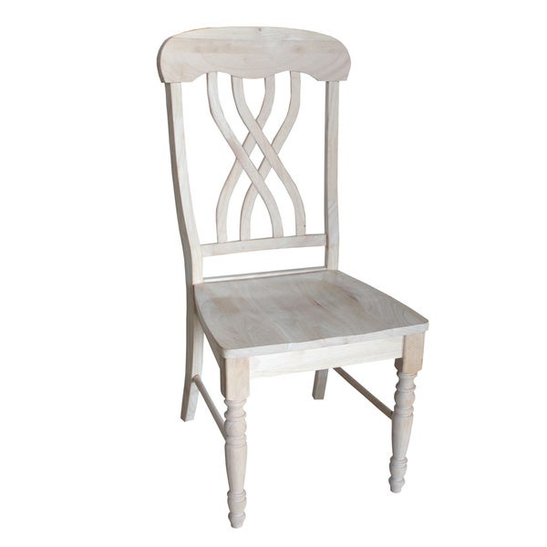 unfinished solid parawood latticeback dining chairs set