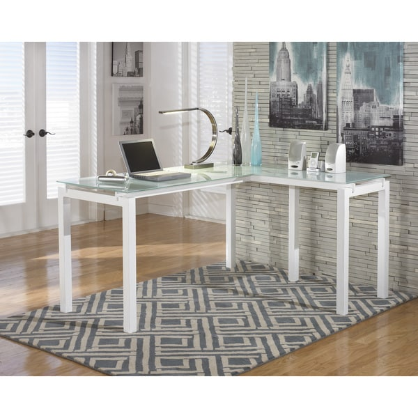 Signature Design By Ashley Baraga White Glass L Desk