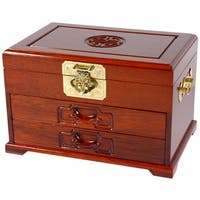 Handmade Merbu Wood Two-drawer Oriental Jewelry Box (China)
