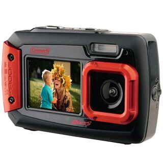 Coleman Duo2 20 MP Waterproof Digital Camera and Dual Screen LCD (Option: Red)