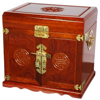 Handmade Merbu Wood Oriental 5-drawer Jewelry Box (China)