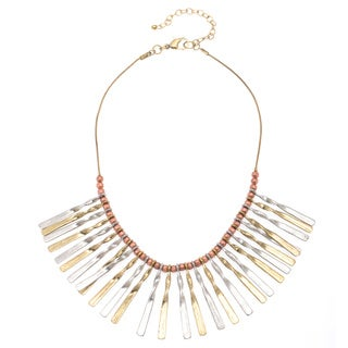 Tri-tone Metal Beaded Bib Necklace (India)