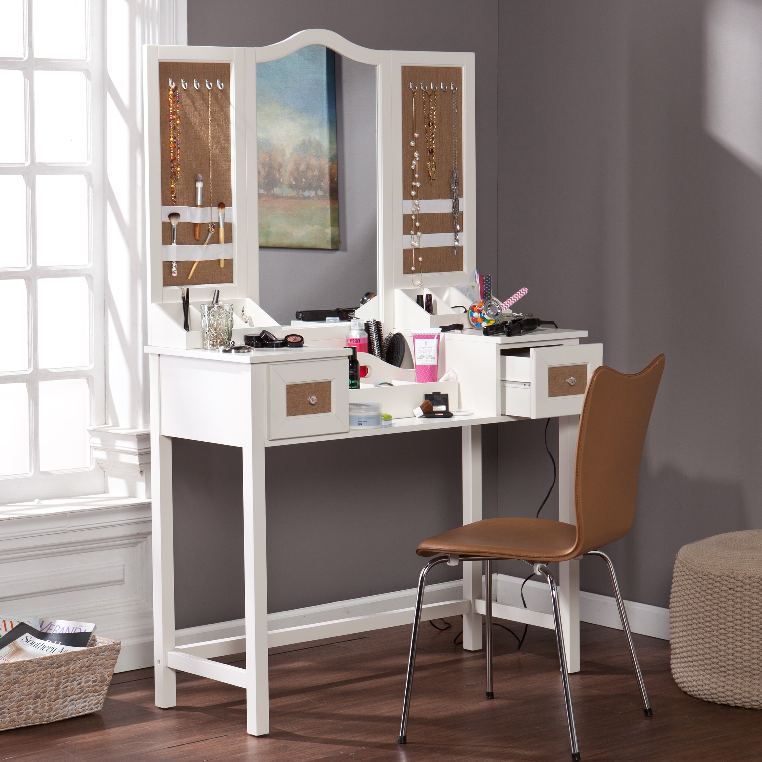 Audrey Vanity Desk With Jewelry Storage Overstock 9318102