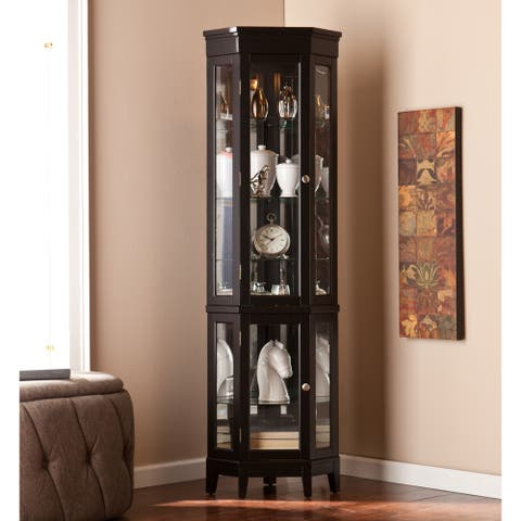Copper Grove Bijoux Black Corner Curio Display Cabinet