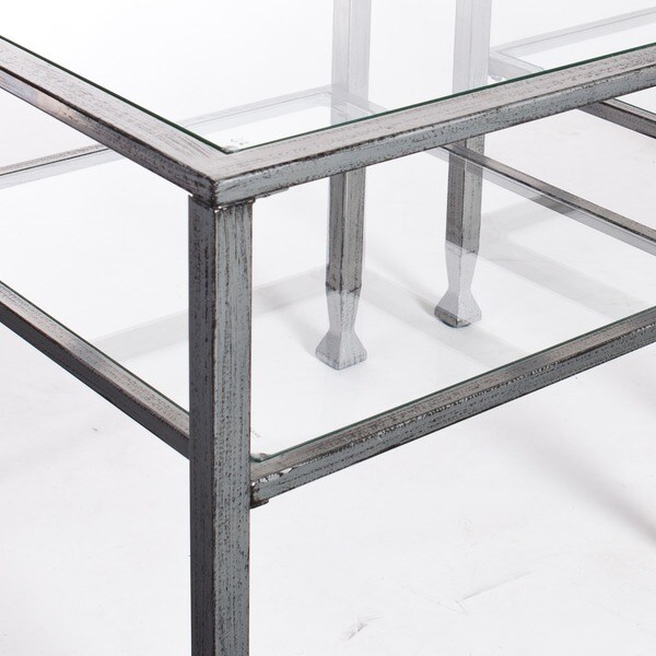 Harper Blvd Silver Metal and Glass Cocktail Table Free Shipping
