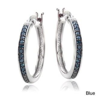 DB Designs Sterling Silver 1/4ct TDW White or Color Diamond Hoop Earrings