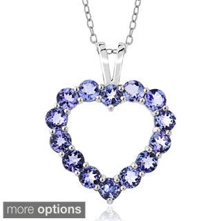 Glitzy Rocks Sterling Silver 3 4/5ct TGW Tanzanite Open Heart Necklace