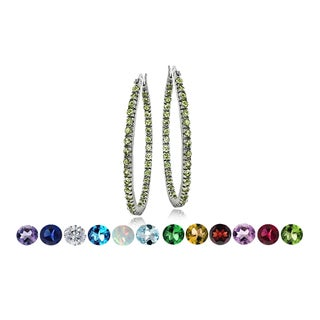 Glitzy Rocks Silvertone Gemstone or Cubic Zirconia Birthstone Hoop Earrings (Option: December)