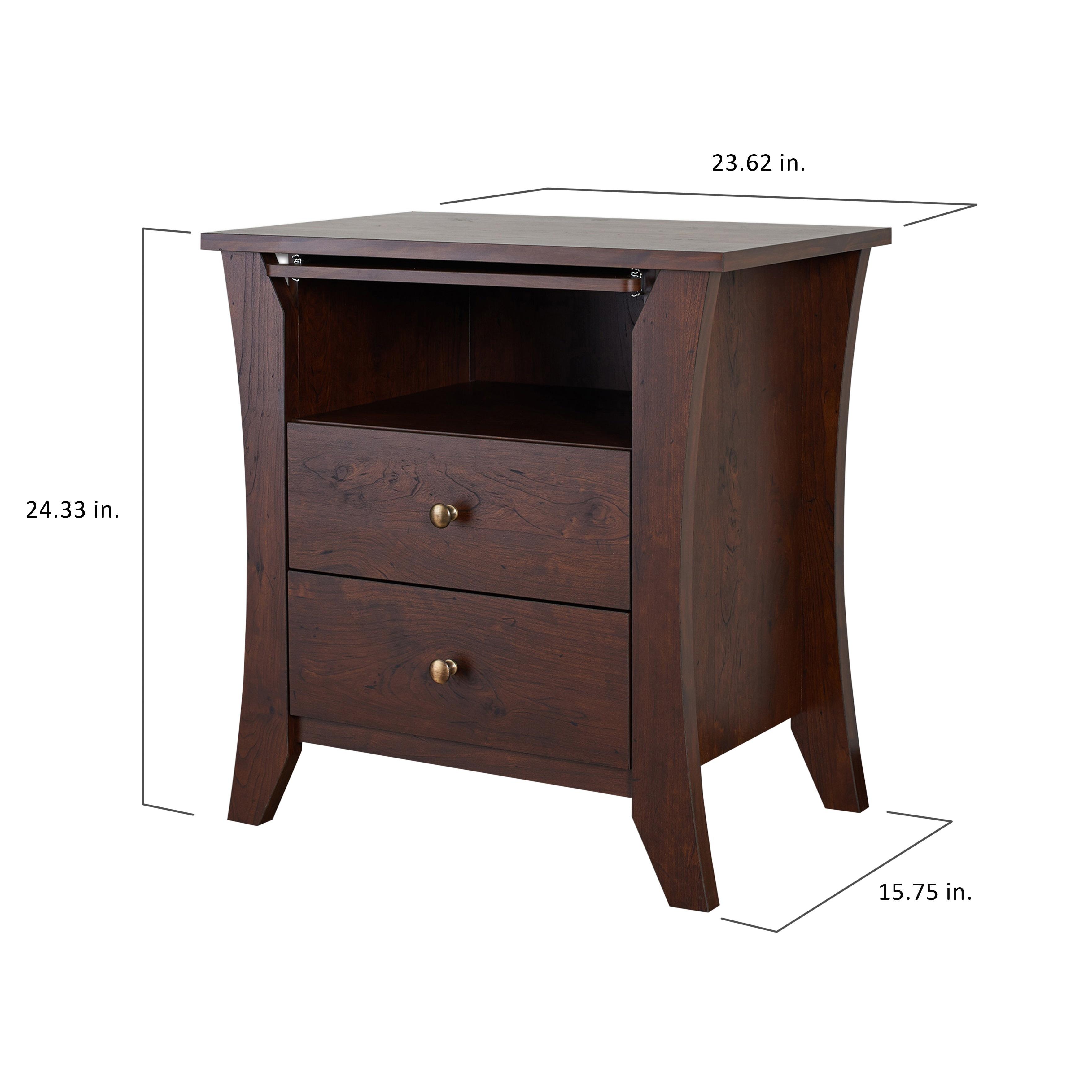 Copper Grove Ettrick Vintage Walnut Modern 2 Drawer Nightstand