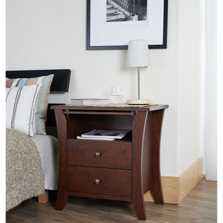 Furniture of America Erneste Vintage Walnut Modern 2-Drawer Nightstand