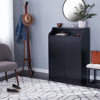 Furniture of America Brenth Sleek Black Shoe Cabinet