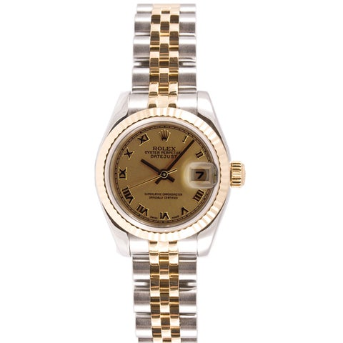 Pre-owned Rolex Women's Datejust Steel and Gold Jubilee Band Champagne Dial Watch