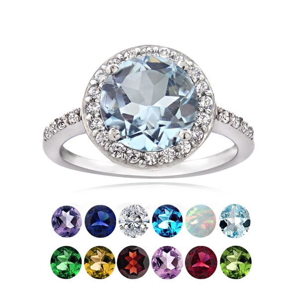 Glitzy Rocks Sterling Silver Gemstone or Cubic Zirconia Birthstone Ring