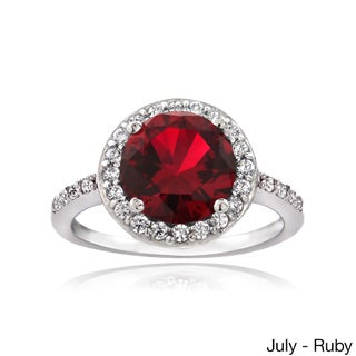 Glitzy Rocks Sterling Silver Gemstone or Cubic Zirconia Birthstone Ring (More options available)