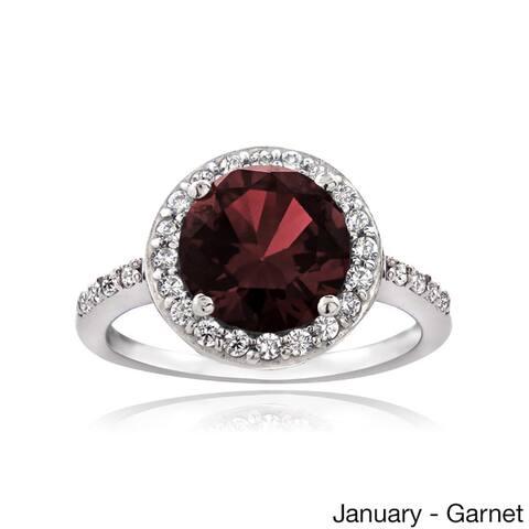 Glitzy Rocks Sterling Silver Gemstone or Cubic Zirconia Birthstone Ring