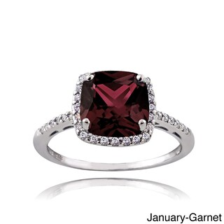 Glitzy Rocks Sterling Silver Gemstone with Cubic Zirconia Birthstone Square Ring (More options available)